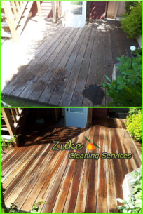 wood decking pressure washing with percarbonate and