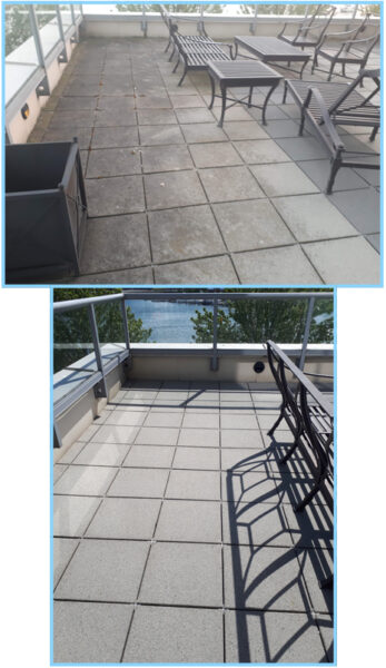 yaletown cleaning of this condo patio by power washing the concrete pavers