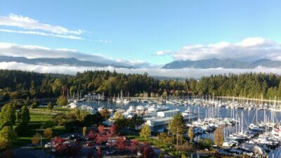 coal harbour views of stanley park and teh north shore mountains while performing exterior home services